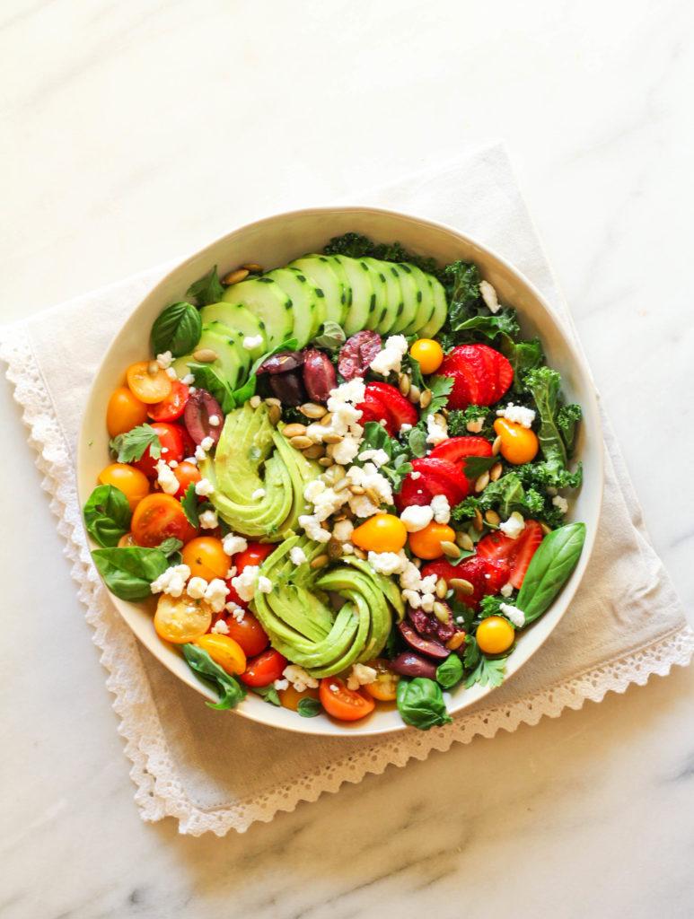 Garden Abundance Salad   Summer salads   Spring salads   Healthy salad   Salad Recipe   Avocado   Cherry Tomatoes   Kale   Basil   Thyme   Kale salad