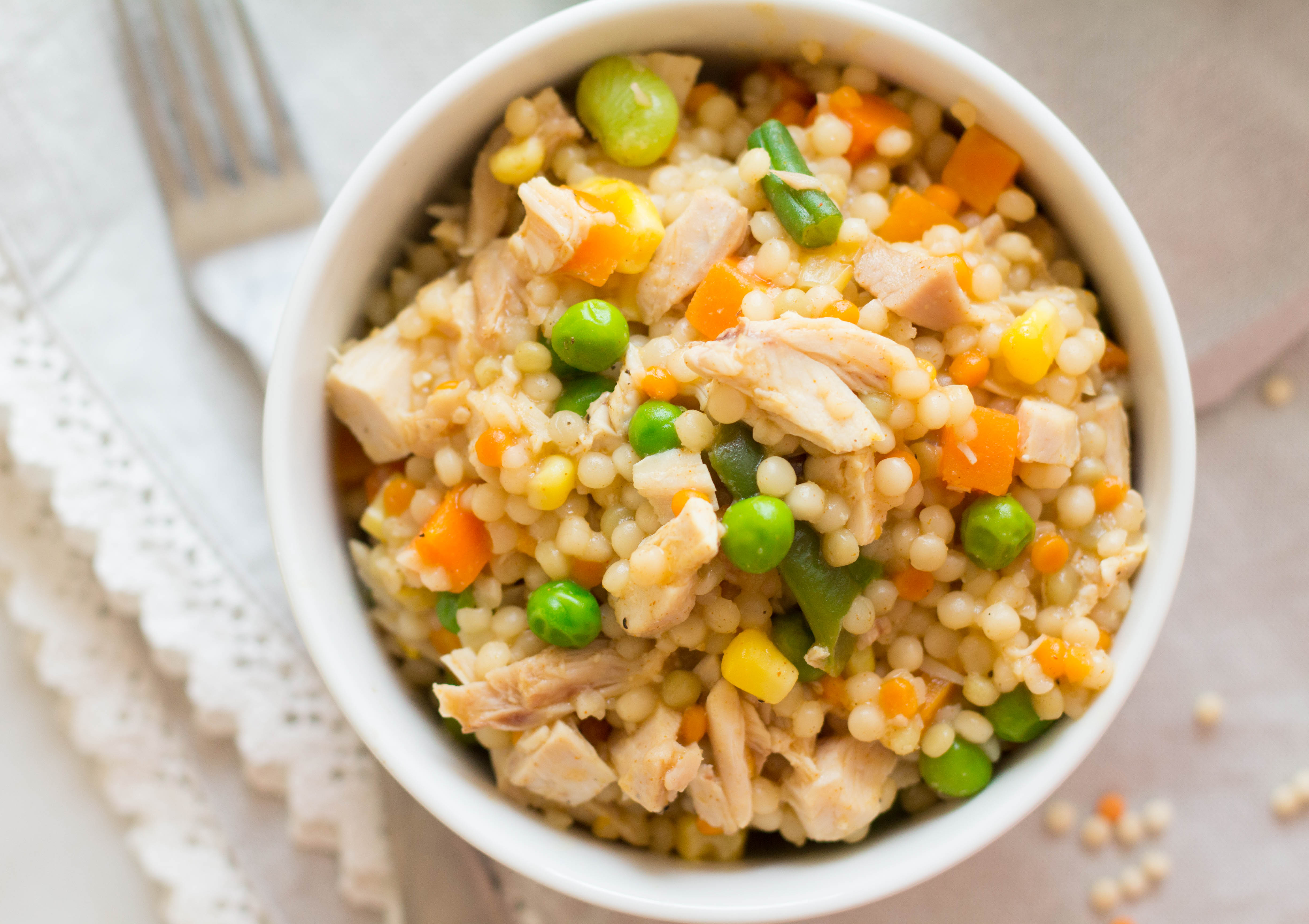 Pearled Couscous with Chicken & Mixed Veggies - Zen & Spice