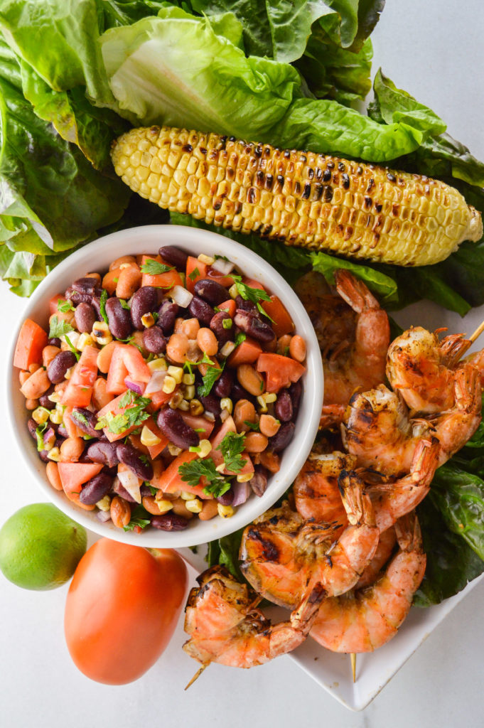 Grilled Shrimp with Cowboy's Caviar | Grilled corn | Grilled shrimp | Salsa | Grilling recipe | Cowboy Caviar