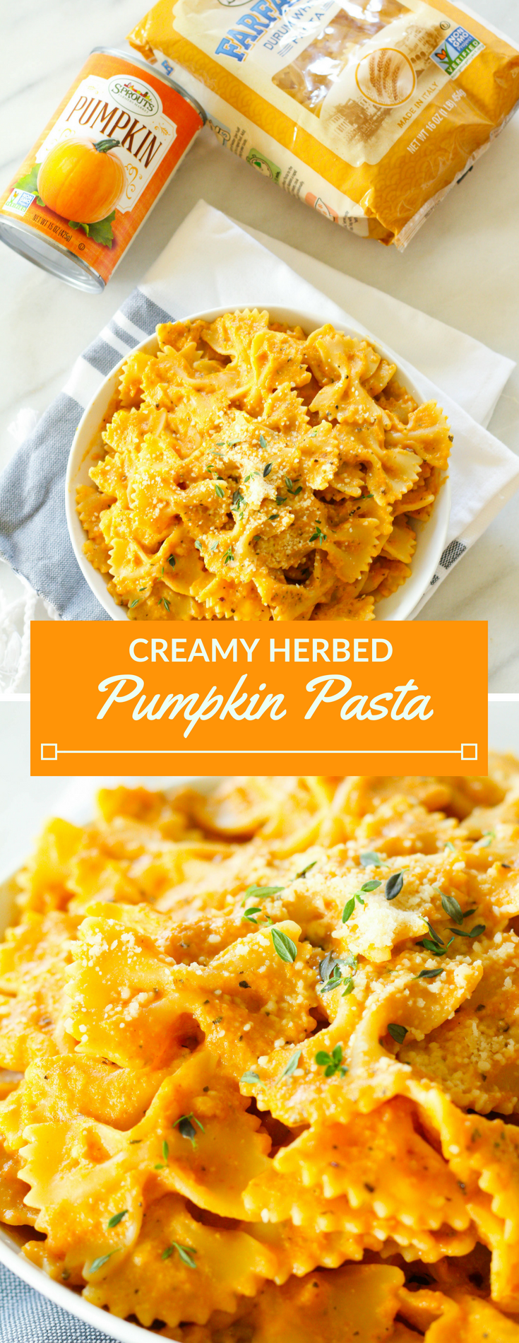 Kick off pumpkin season with a bang with Creamy Herbed Pumpkin Pasta! Tender noodles tossed with a creamy and cheesy pumpkin herb sauce.