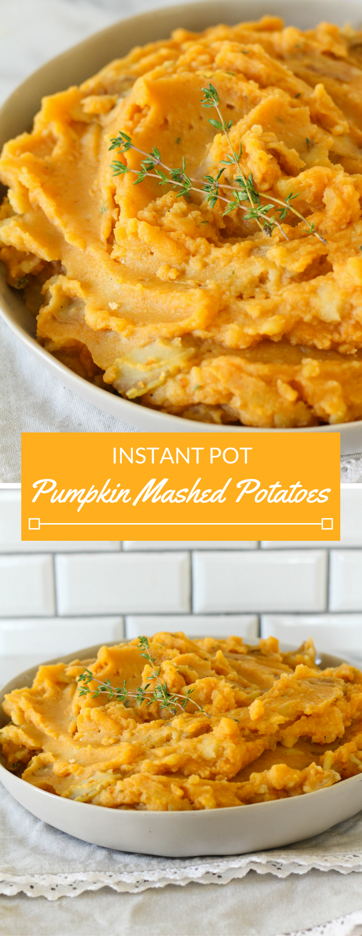 Instant pot pumpkin mashed potatoes are a delicious Thanksgiving staple. Made with potatoes, milk, thyme, and a special ingredient, pumpkin!