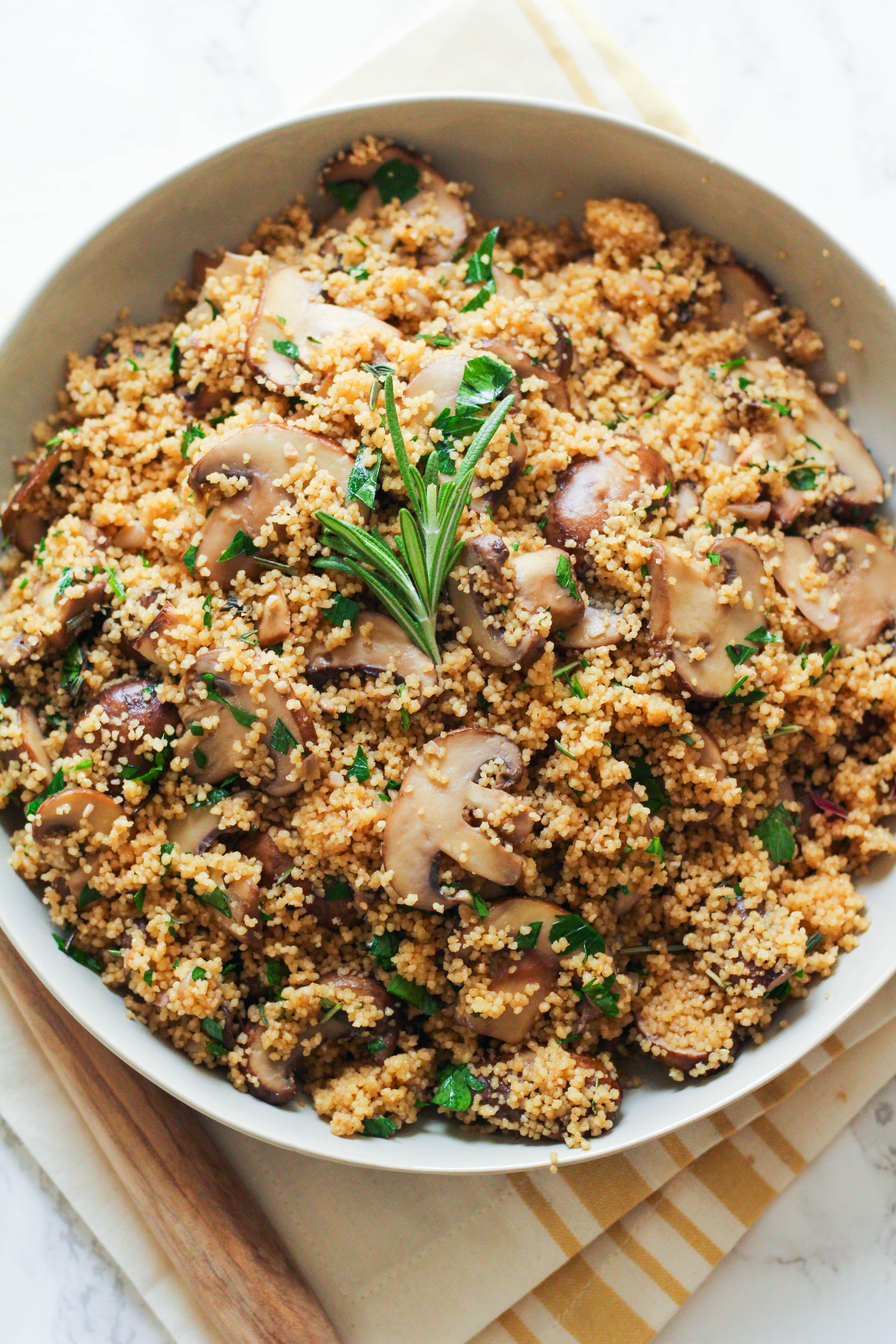 Cremini Mushroom & Herb Couscous Stuffing | Couscous | Mushrooms | Thanksgiving side dish