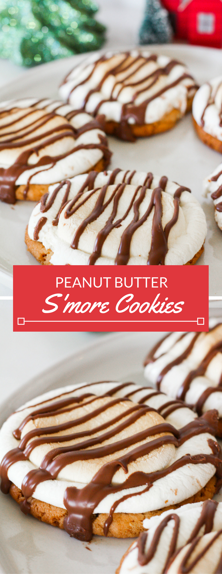 Chewy peanut butter s'more cookies, topped with a toasty, melted marshmallow and drizzled with sweet chocolate. For any chocolate and peanut butter fan out there, these peanut butter s'more cookies are sure to please.