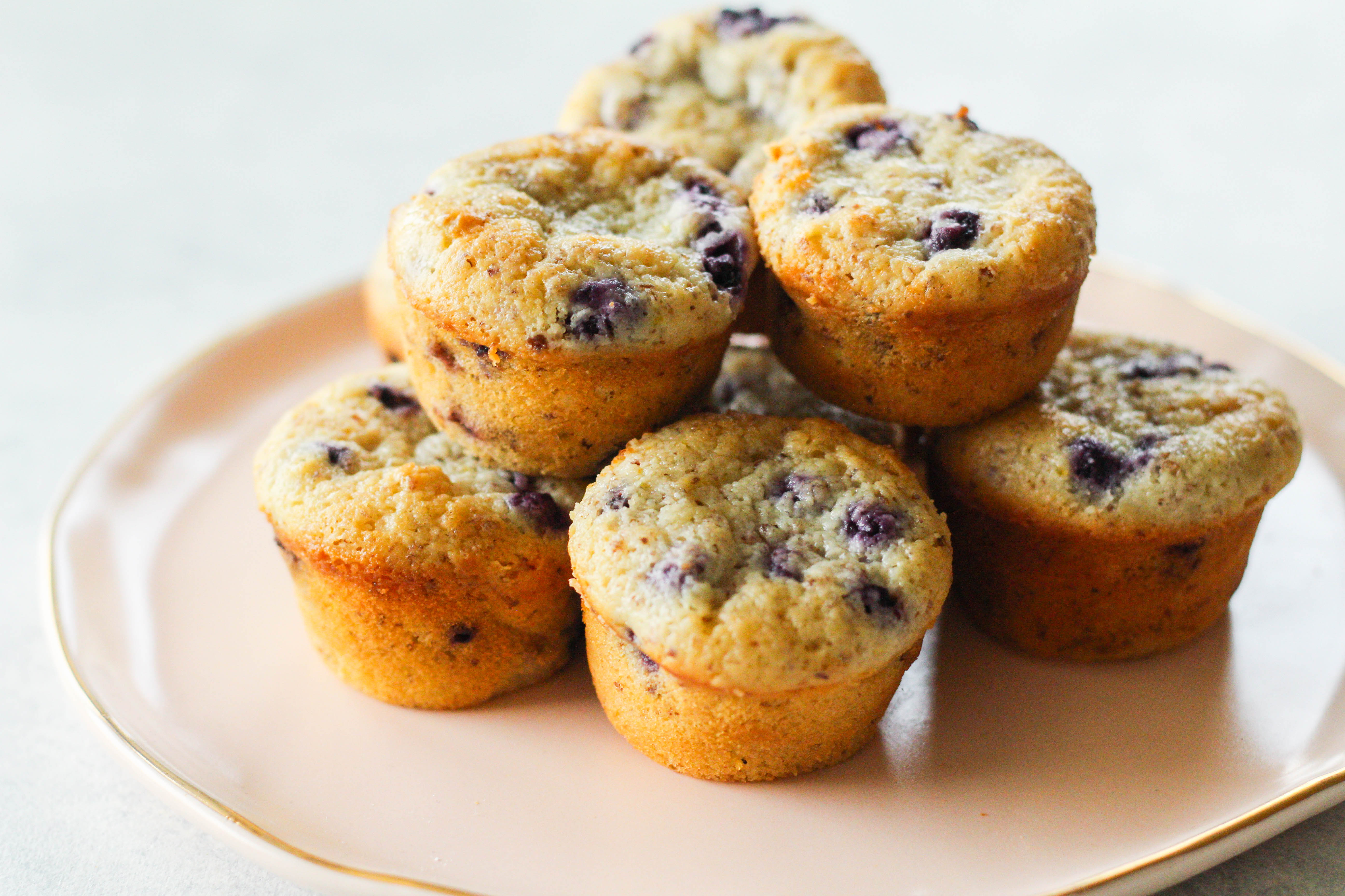 Super moist and soft, these mini blueberry muffins are a delicious treat! Enjoy them for breakfast, a snack or even dessert topped with vanilla ice cream.