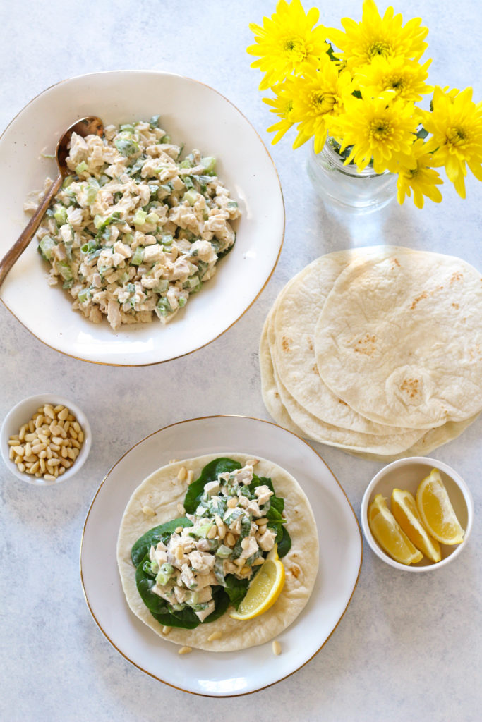 Diced rotisserie chicken combined with mayo, lemon juice, Dijon mustard and basil to create a delicious dijon basil chicken salad, perfect to eat as a salad or on top of your favorite bread or roll!