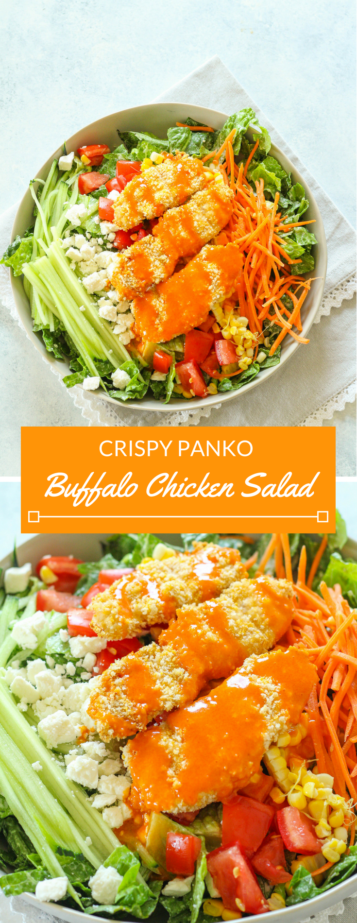 Crispy Buffalo Chicken Salad with Roasted Corn