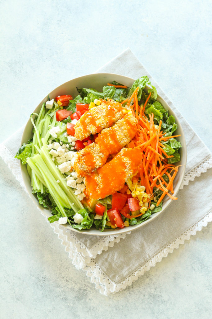 Crispy Buffalo Chicken Salad with Roasted Corn