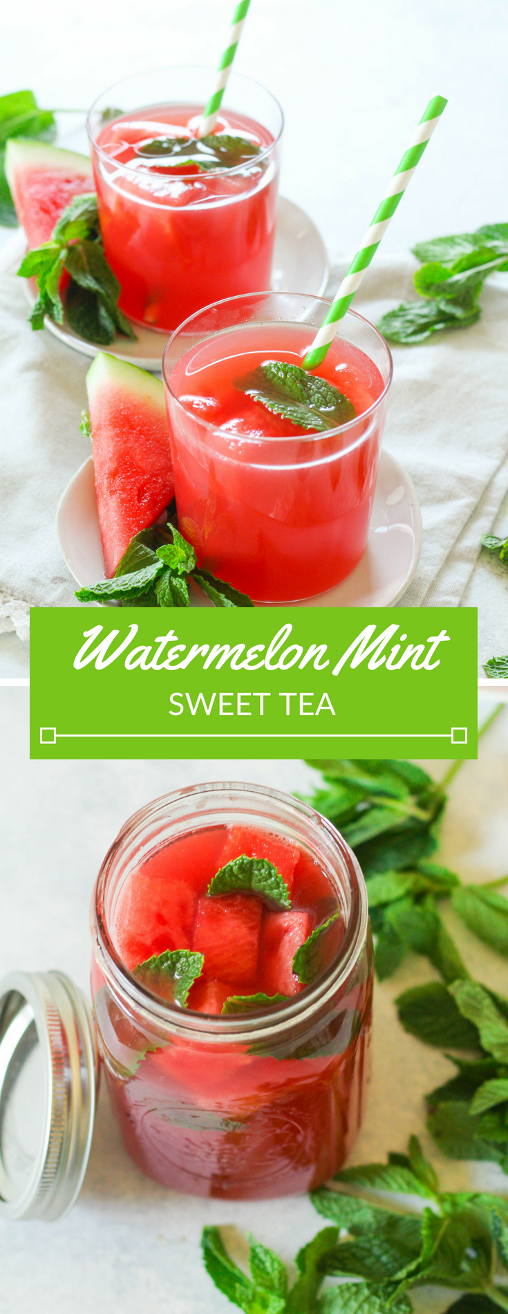 Watermelon Mint Sweet Tea is a refreshing upgrade from your regular tea routine! Watermelon puree is mixed with mint green tea and garnished with frozen watermelon cubes.