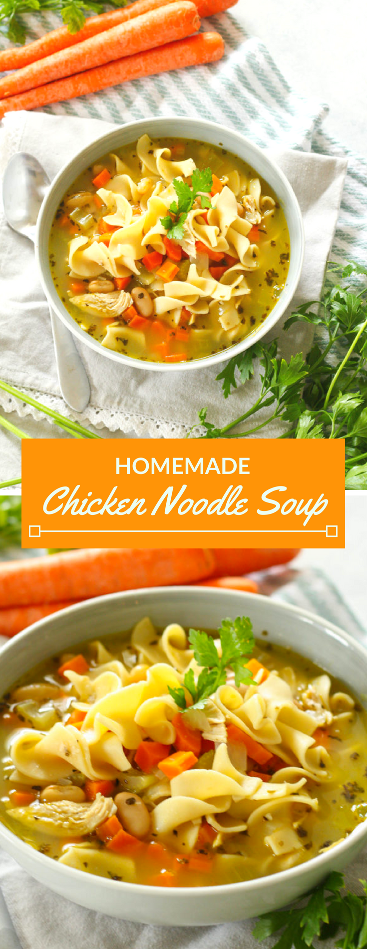 Homemade chicken noodle soup that's ready in under 30 minutes! Full of juicy chicken, tender beans, soft egg noodles and assorted veggies.