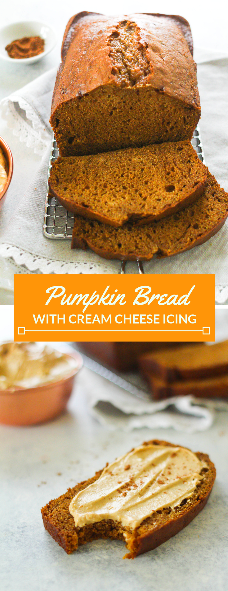 Super moist and and soft, this is the ultimate pumpkin bread recipe! Topped with a delicious whipped pumpkin spice cream cheese spread.