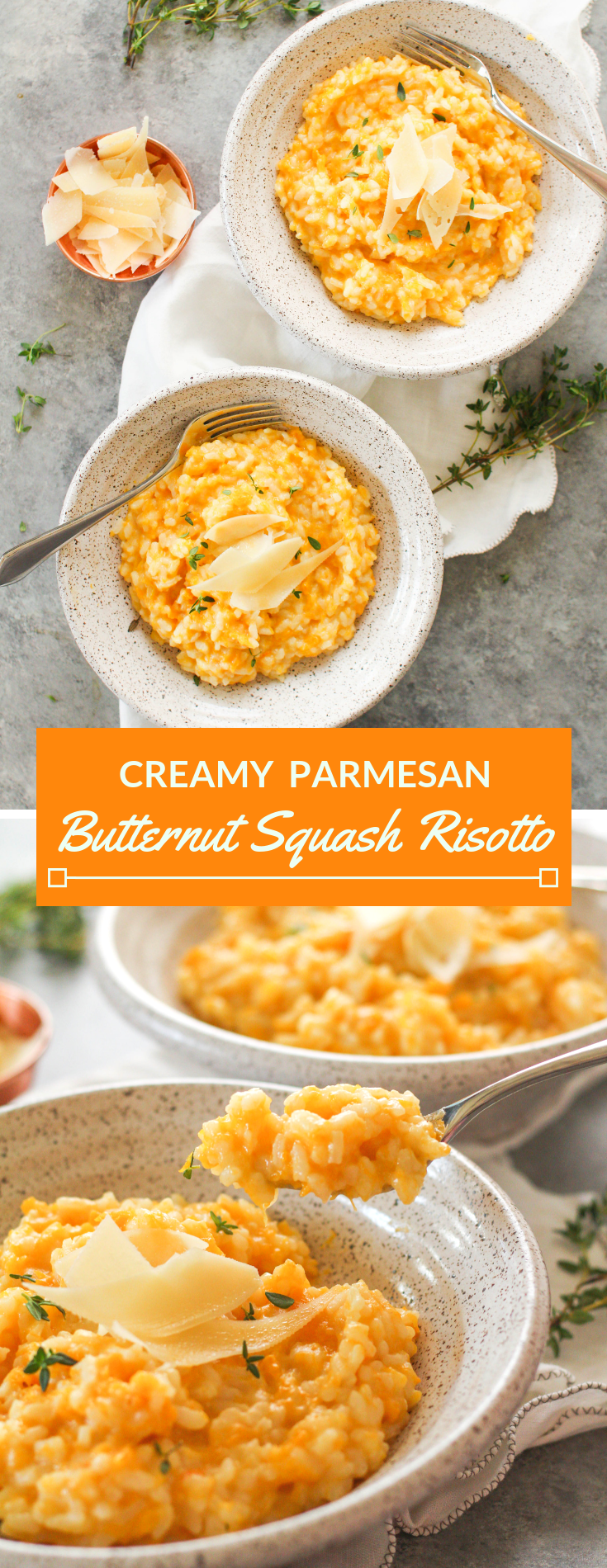 Savory roasted butternut squash, plenty of chicken broth and a splash of white wine is combined with Arborio rice to create this delicious roasted butternut squash risotto.