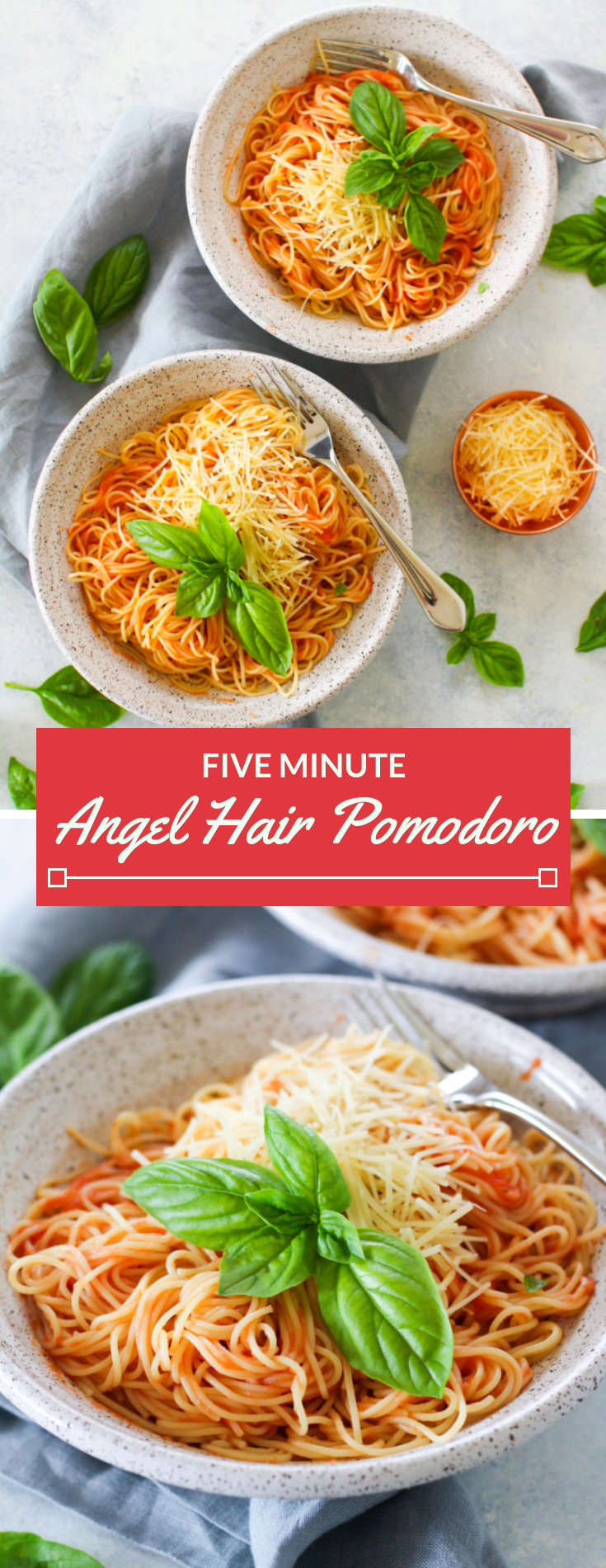 This Angel Hair Pomodoro comes together in just five minutes, due to it's four ingredient sauce! Simply puree plum tomatoes, olive oil, garlic and salt and toss with hot angel hair pasta.
