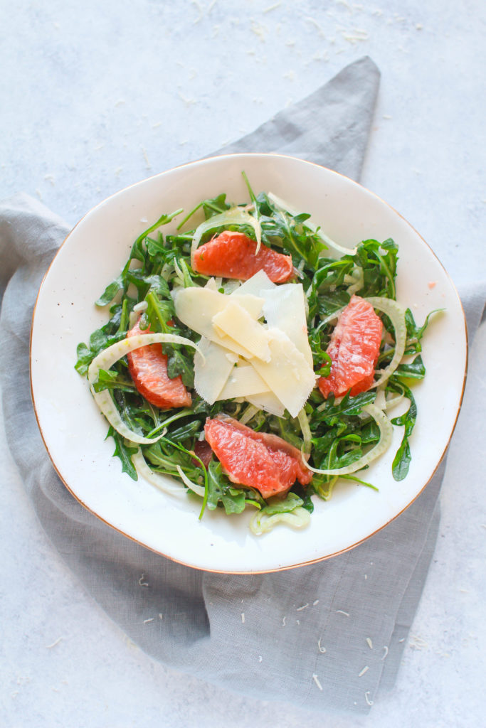 Slightly sour grapefruit, refreshing and crunchy fennel, tender baby arugula and salty Parmesan come together in this delicious winter salad (that can be enjoyed any time of the year!).