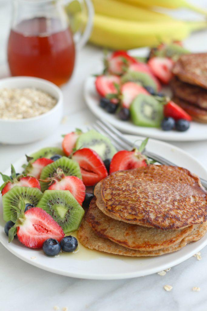 banana pancakes with fresh fruit