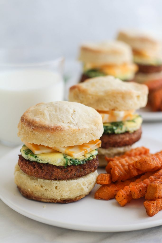 breakfast sandwich with sweet potato fries