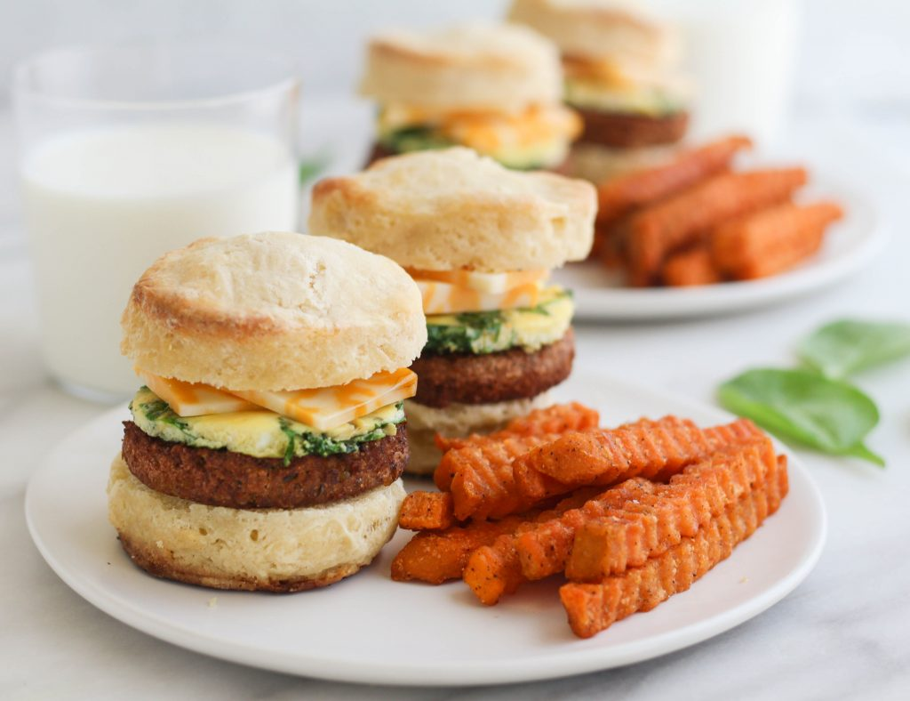 breakfast sandwiches with sweet potato fries