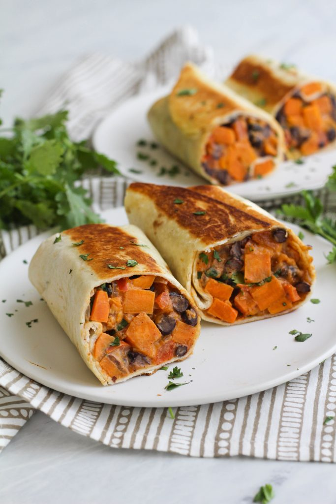 burrito with sweet potato and black beans