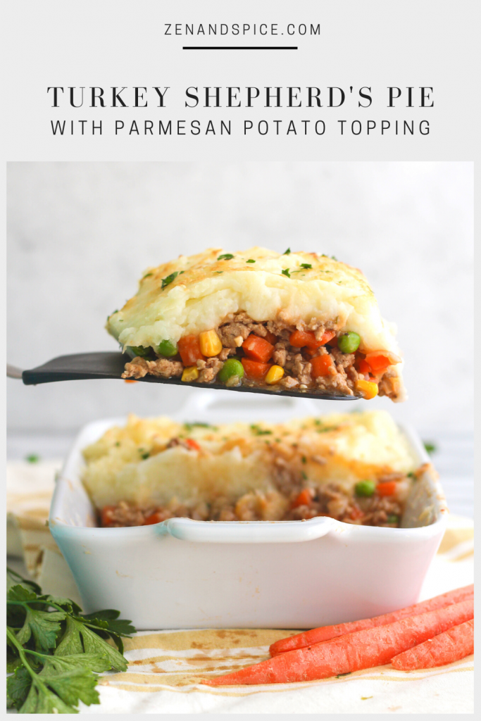 If you're in the mood for a meaty, savory, comfort food classic, try this Turkey Shepherd's Pie! Vegetables and ground turkey covered in a gravy sauce, topped with mashed potatoes and Parmesan, baked until golden.