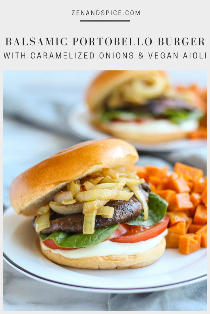 A burger so good, you wouldn't even know it's vegan! Portobello mushrooms are marinated in a savory sauce, then sauteed until soft. Balsamic portobello burgers are topped with caramelized onions, fresh tomato, and slathered in vegan aioli.