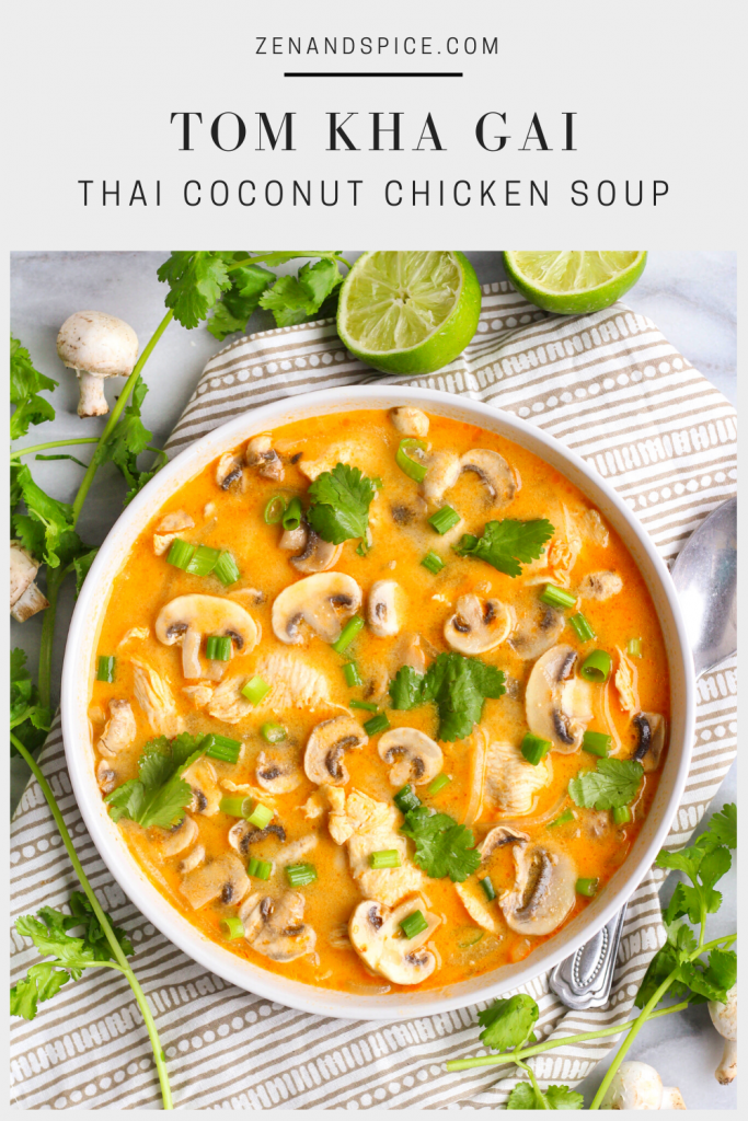 Tom kha gai, or Thai coconut chicken soup, is a spicy and sour hot soup made with coconut milk. The heat comes from chili-garlic sauce and the sour from the lime juice. You can use thinly sliced chicken or cubed tofu for a vegan version!