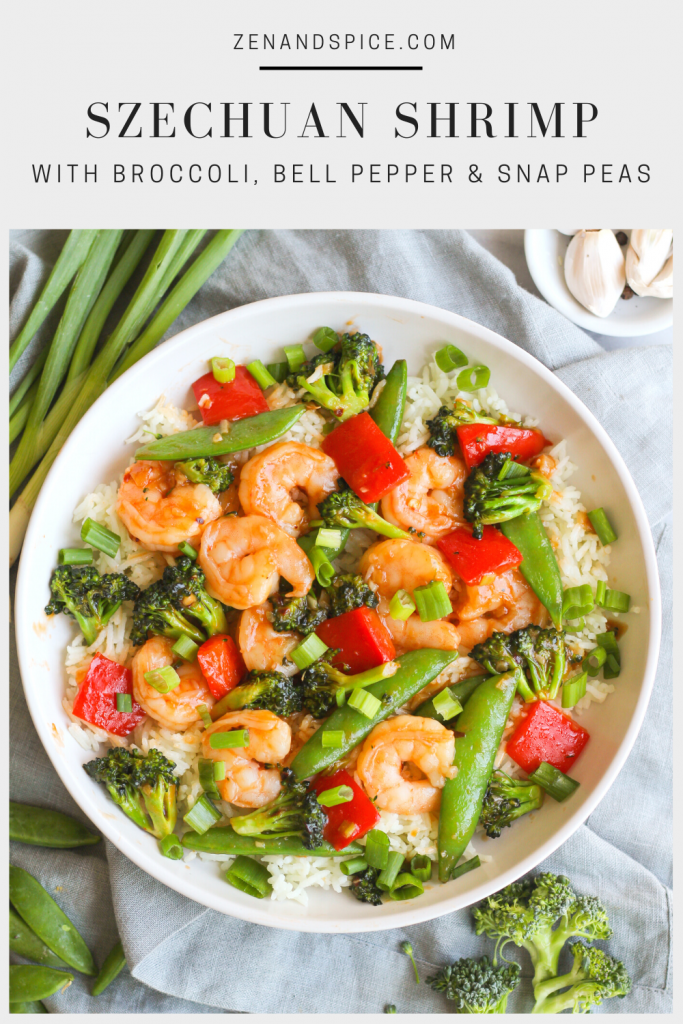 Spicy and tangy, this Szechuan shrimp comes together quickly. Tossed with broccoli, snap peas, and red bell pepper and served on a bed of basmati rice.