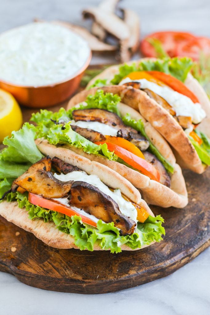 Make meatless dinners more of a regular occurrence with these delicious vegetarian gyros! Grilled portabella mushrooms and peppers topped with fresh veggies and a tangy yogurt-dill sauce.